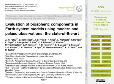 Evaluation of Biospheric Components in E... by Foley, A. M.