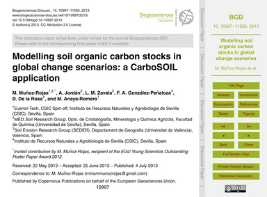 Modelling Soil Organic Carbon Stocks in ... by Muñoz-rojas, M.