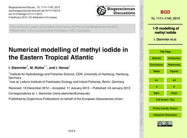 Numerical Modelling of Methyl Iodide in ... by Stemmler, I.