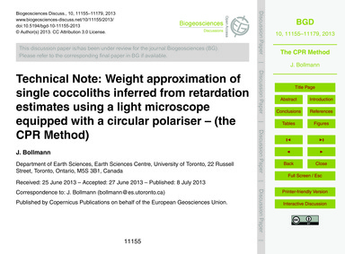 Technical Note: Weight Approximation of ... by Bollmann, J.