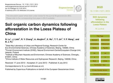 Soil Organic Carbon Dynamics Following A... by Lu, N.