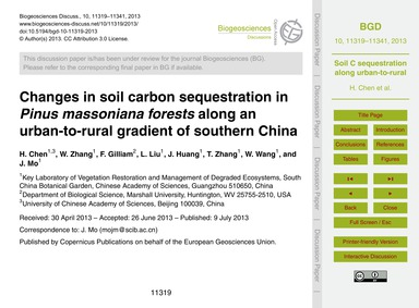 Changes in Soil Carbon Sequestration in ... by Chen, H.