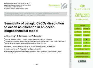 Sensitivity of Pelagic Caco3 Dissolution... by Regenberg, A.