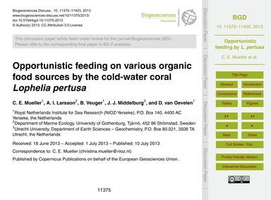 Opportunistic Feeding on Various Organic... by Mueller, C. E.