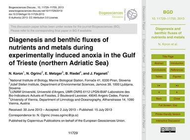 Diagenesis and Benthic Fluxes of Nutrien... by Koron, N.