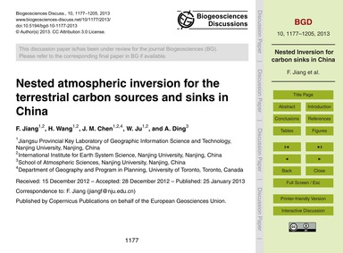 Nested Atmospheric Inversion for the Ter... by Jiang, F.