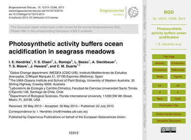 Photosynthetic Activity Buffers Ocean Ac... by Hendriks, I. E.