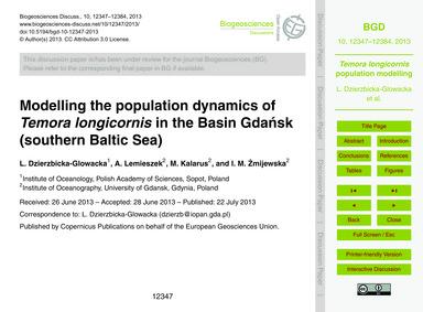 Modelling the Population Dynamics of Tem... by Dzierzbicka-glowacka, L.