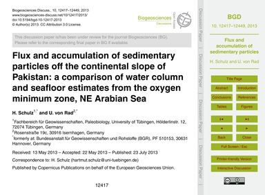 Flux and Accumulation of Sedimentary Par... by Schulz, H.