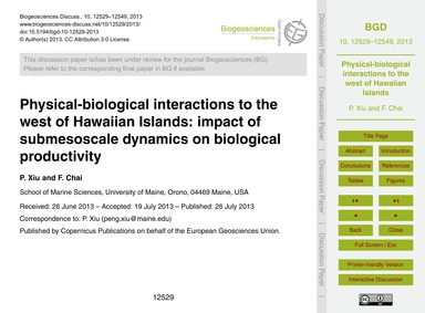 Physical-biological Interactions to the ... by Xiu, P.