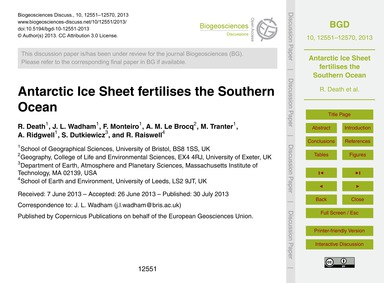 Antarctic Ice Sheet Fertilises the South... by Death, R.