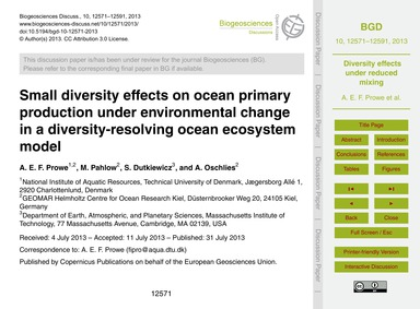 Small Diversity Effects on Ocean Primary... by Prowe, A. E. F.