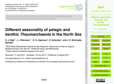Different Seasonality of Pelagic and Ben... by Bale, N. J.