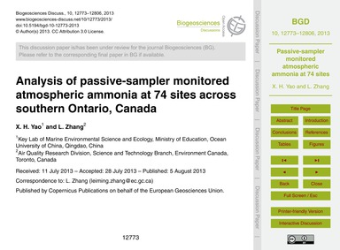 Analysis of Passive-sampler Monitored At... by Yao, X. H.