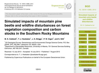 Simulated Impacts of Mountain Pine Beetl... by Caldwell, M. K.