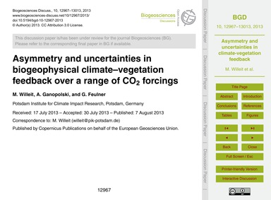 Asymmetry and Uncertainties in Biogeophy... by Willeit, M.