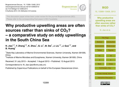 Why Productive Upwelling Areas Are Often... by Jiao, N.