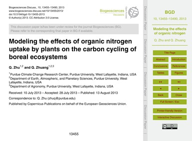 Modeling the Effects of Organic Nitrogen... by Zhu, Q.