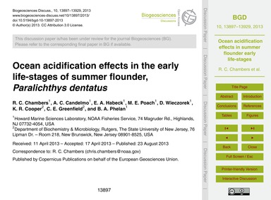 Ocean Acidification Effects in the Early... by Chambers, R. C.