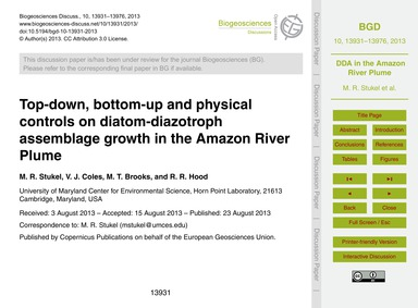 Top-down, Bottom-up and Physical Control... by Stukel, M. R.