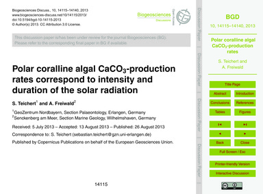 Polar Coralline Algal Caco3-production R... by Teichert, S.