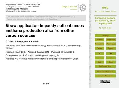 Straw Application in Paddy Soil Enhances... by Yuan, Q.