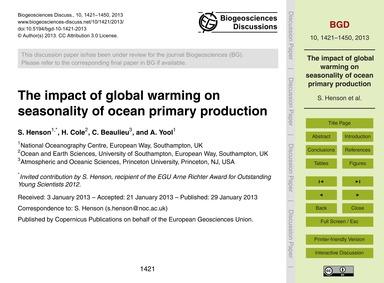 The Impact of Global Warming on Seasonal... by Henson, S.