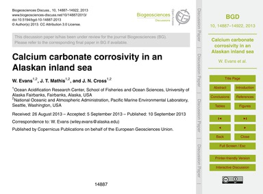 Calcium Carbonate Corrosivity in an Alas... by Evans, W.
