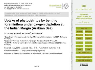Uptake of Phytodetritus by Benthic Foram... by Enge, A. J.