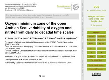 Oxygen Minimum Zone of the Open Arabian ... by Banse, K.