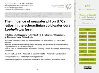 The Influence of Seawater Ph on U / CA R... by Raddatz, J.