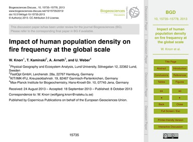 Impact of Human Population Density on Fi... by Knorr, W.