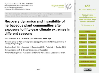 Recovery Dynamics and Invasibility of He... by Dreesen, F. E.