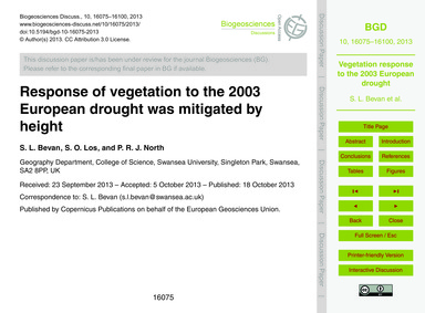 Response of Vegetation to the 2003 Europ... by Bevan, S. L.