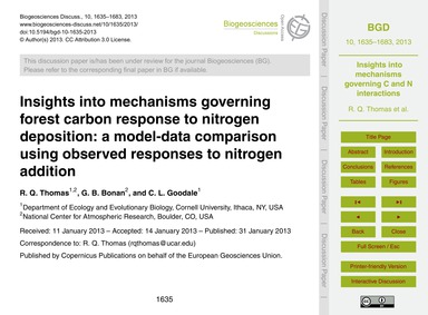 Insights Into Mechanisms Governing Fores... by Thomas, R. Q.