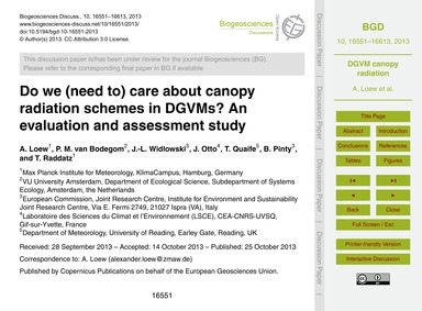 Do We (Need to) Care About Canopy Radiat... by Loew, A.