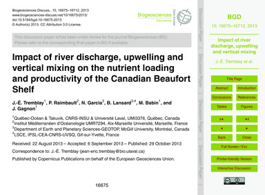 Impact of River Discharge, Upwelling and... by Tremblay, J.-é.
