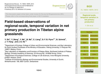 Field-based Observations of Regional-sca... by Shi, Y.