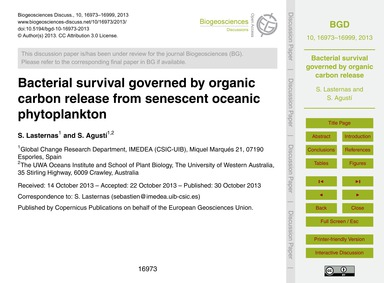 Bacterial Survival Governed by Organic C... by Lasternas, S.