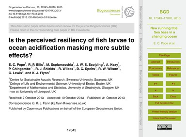 Is the Perceived Resiliency of Fish Larv... by Pope, E. C.