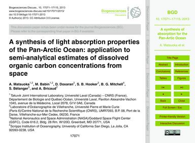 A Synthesis of Light Absorption Properti... by Matsuoka, A.