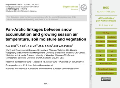 Pan-arctic Linkages Between Snow Accumul... by Luus, K. A.