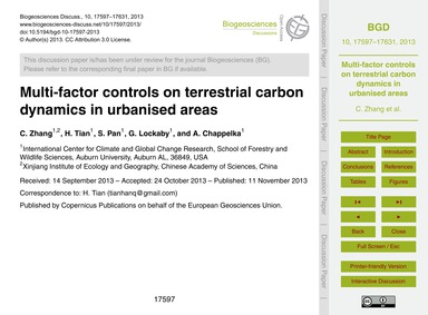 Multi-factor Controls on Terrestrial Car... by Zhang, C.