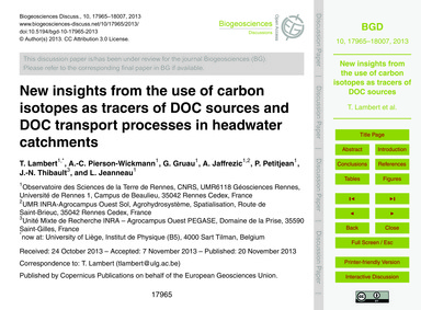New Insights from the Use of Carbon Isot... by Lambert, T.