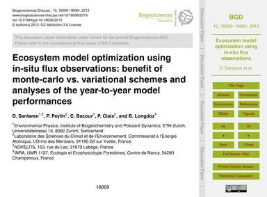 Ecosystem Model Optimization Using In-si... by Santaren, D.