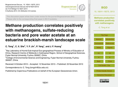 Methane Production Correlates Positively... by Tong, C.