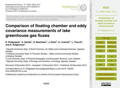 Comparison of Floating Chamber and Eddy ... by Podgrajsek, E.
