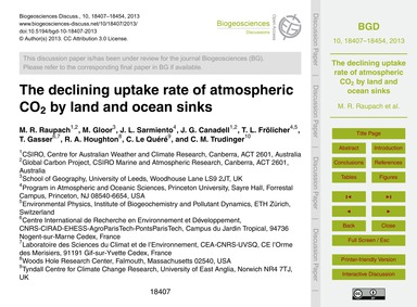 The Declining Uptake Rate of Atmospheric... by Raupach, M. R.