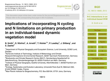 Implications of Incorporating N Cycling ... by Smith, B.