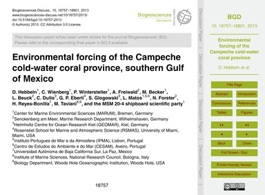 Environmental Forcing of the Campeche Co... by Hebbeln, D.